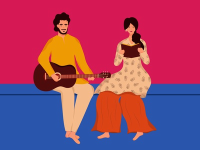 Perfect Moment vector illustration illustrator digitalart music vector vectordesign character couple illustration guitar patterndesign graphicdesign characterdesign digitalillustration illustration