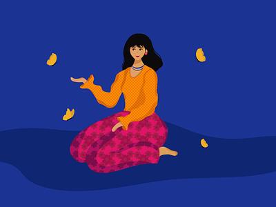 Gratitude illustrations design vectorartwork vectorartist vectorart vector character illustration butterfly illustrator character woman digitalart graphicdesign womanillustration characterillustration patterndesign indianwoman digitalillustration characterdesign illustration