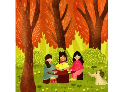 Good Times nature plants procreate brushes indianwoman illustraion graphicdesgn childrens illustration childrens book digitalart childrenbook picturebook babyelephant forest procreateart procreate procreateapp characterdesign character digitalillustration characterillustration