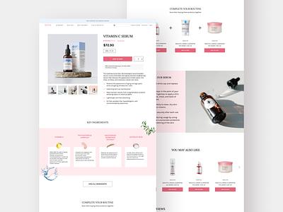 Skincare store product page design web design ui ux design mockup uiux ui figma