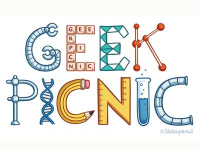 Geek picnic logo illustration geek science nerd
