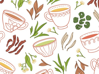 Tea Pattern tea pattern illustration background cups