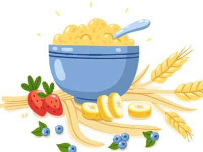 Porridge (kasha) illustration food vegetarian fruits
