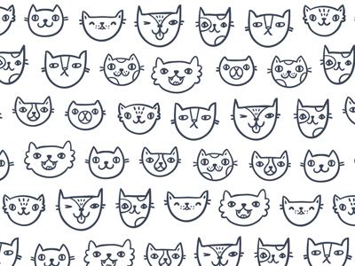 Crazy cats cat doodle pattern background