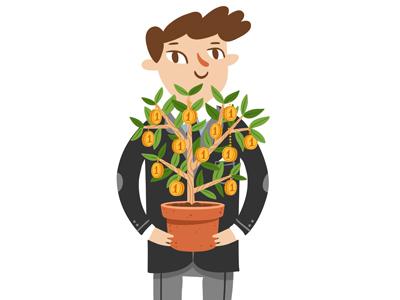 Financier business illustration cartoon character money