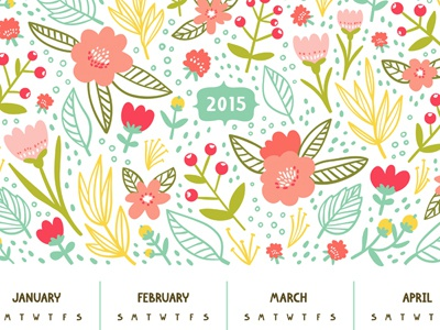 Beautiful Floral Calendar For Year 2015         calendar floral doodle pattern