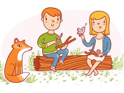 Carving book illustration carving character illustration fox cartoon