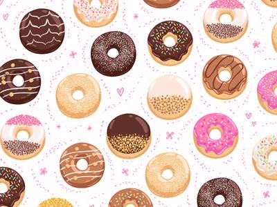 Donuts illustration donuts pattern bakery