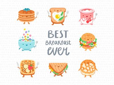 Breakfast food characters stolenpencil breakfast contest playoff creative market xprocrastinationcontest