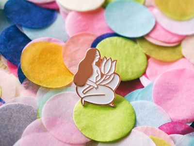 Bloom product girl flower body positive pin