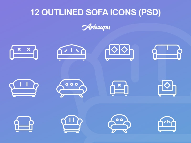 Outlined Sofa Icons iconset set icons freebies outline sofa icon