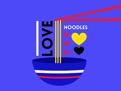 I love Nooodles bowl hearts chopsticks noodles food love happy illustration