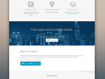 ImageGlass homepage 2016 long shadow image viewer product website single page flat design homepage website