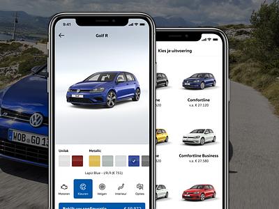 Volkswagen Configurator configurator car volkswagen ux design ios iphone app ui