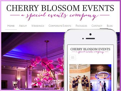 Cherry Blossom Events Website responsive design wedding web design htmlcss wordpress development custom
