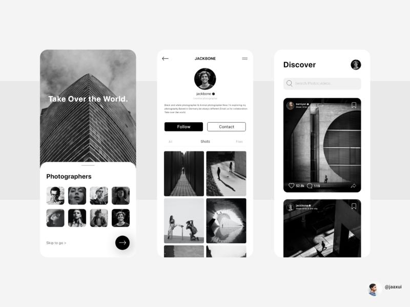 Photographers Club App design photographsapp user interface best shot graphic design adobexd mobile design web uiux black  white photography app design
