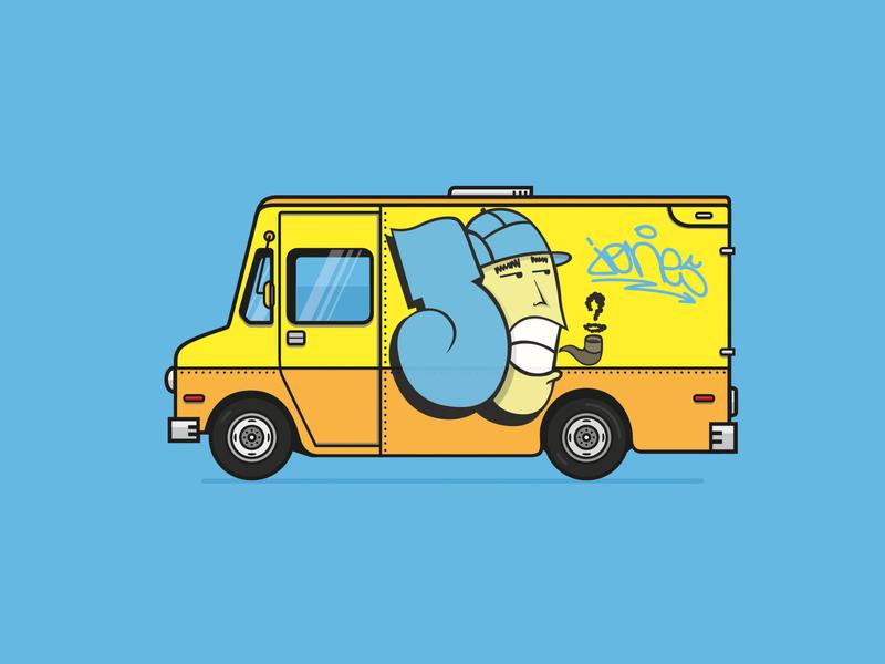 Van illustraion flat graffiti car van