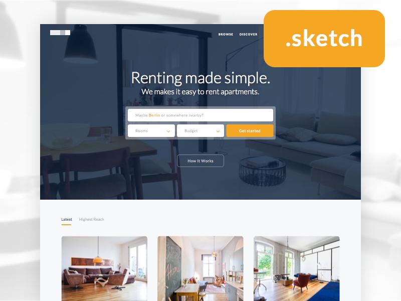 Freebie : Real Estate Homepage ui freebie free template homepage landing page sketch clean flat real estate download simple