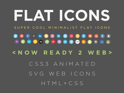 FLAT Social Icons CSS css flat icons download vector html minimalist free