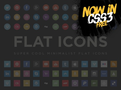 Flat Social Icons in Css4free flat minimal free eps css social icons social media social icons flat icons