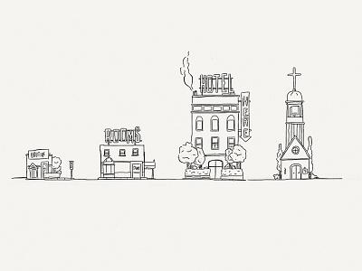 Paper Book: Jackson St. illustration paper 53 minimalist ink city buildings street church hotel