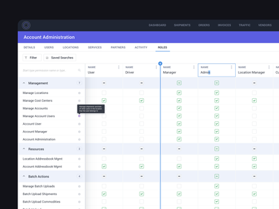 Admin Roles Management horizontal scroll table accordion spreadsheet assignment permission admin design account user experience dashboard daily ui dailyui application ux app management manager roles admin panel admin