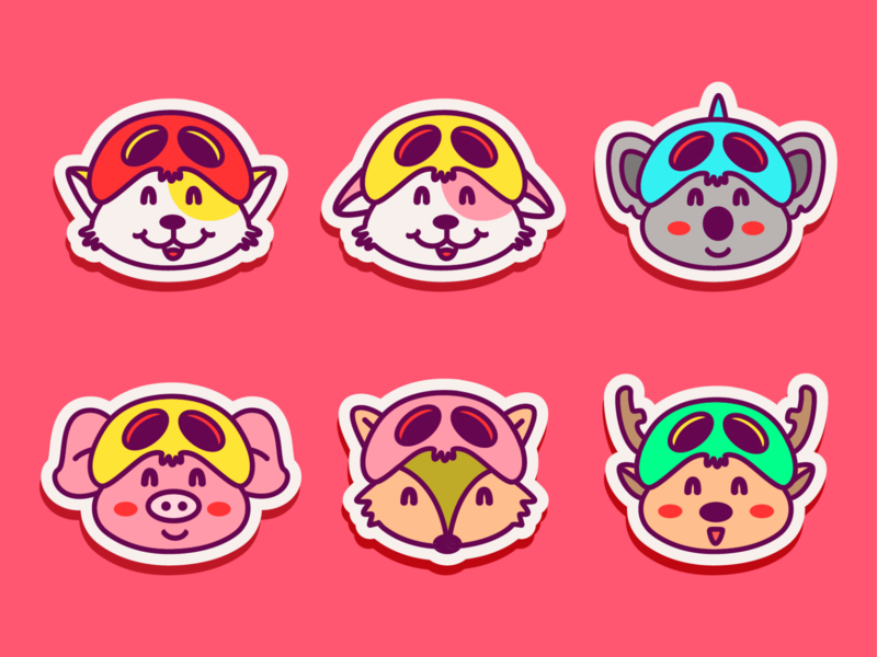 kawaii animal stickers 🐱🐶🐨🐷🐺🦌 funny kids style baby little logos scribble logo kawaii illustration cute chibi cat art anime animal adorable