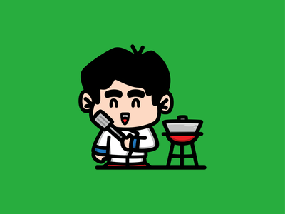 Chibi Chef cooking food delicious restaurant cook chef children mascot logo kids funny adorable little kawaii illustration cute chibi art baby anime