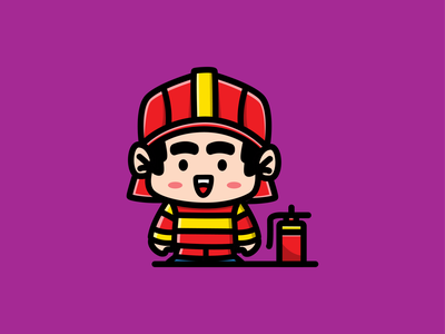 Chibi firefighter work professional hydrant fire firefighter character cartoon mascot logo kids funny adorable little kawaii illustration chibi cute baby art anime