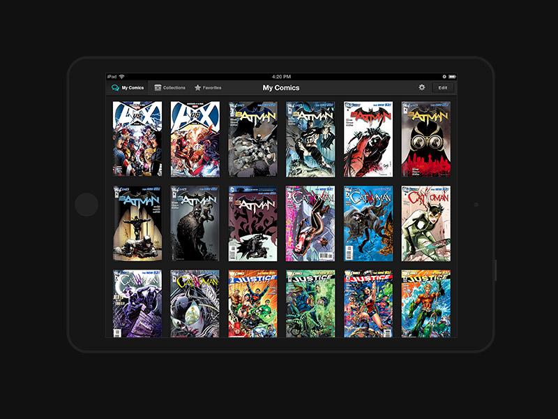 Alfred ipad app comic book publishing reader black grid