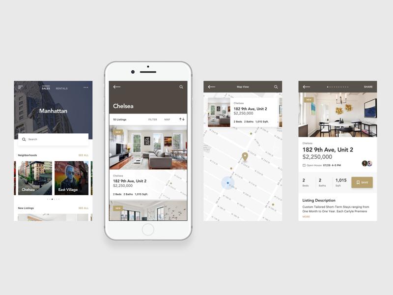 Listed UI Kit sans serif modern ui ux real estate app