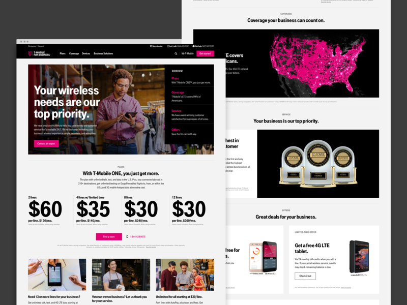 T-Mobile Small Business small business homepage typography b2b ux ui