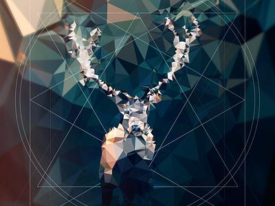 Polygonal Deer forest deer illustration triangles adobe illustrator low-poly