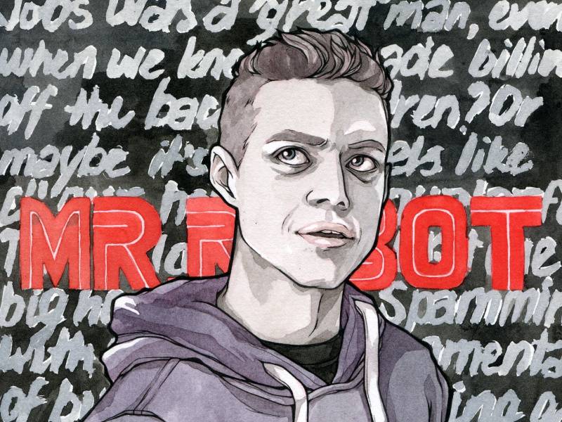 Mr. Robot watercolor illustration fanart mr robot