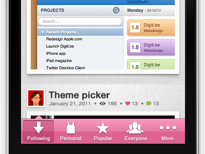 Going pink ! dirbbble iphone app free pink tabbar icons ios