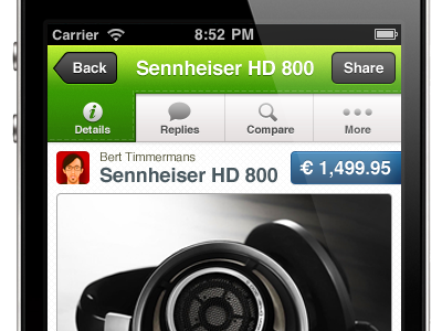 First glimpse of something awesome iphone app green tabs pricetag button ios