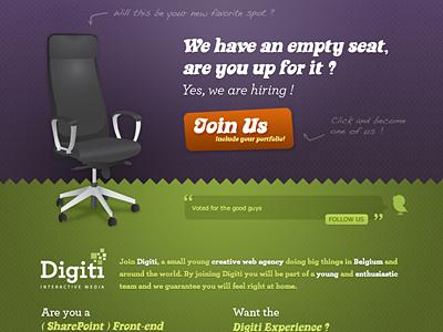 Digiti - Job opening digiti work jobs purple green chair join frontend