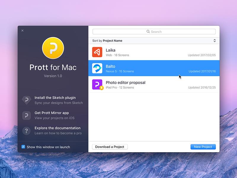 Prott for Mac - Welcome screen app prototyping macos