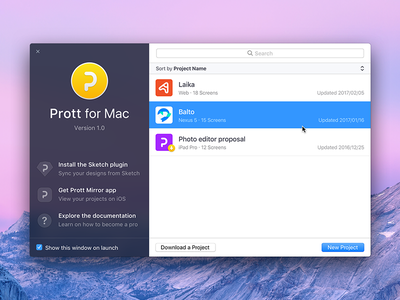 Prott for Mac - Welcome screen app prototyping macos