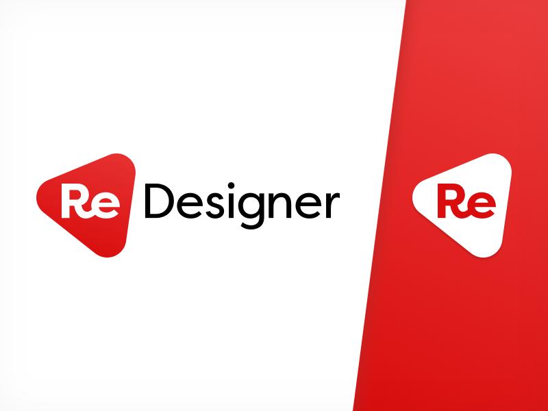 Redesigner - Logo + Logo mark design white red logo