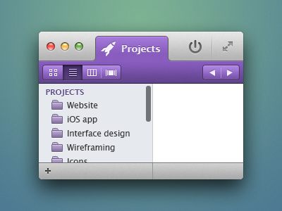 Research... osx interface ui gray purple button list tabs