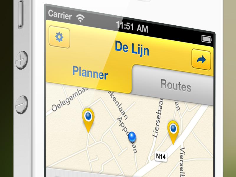 The redesign of the De Lijn iPhone app V2 delijn digiti tabs map gray yellow marker iphone5