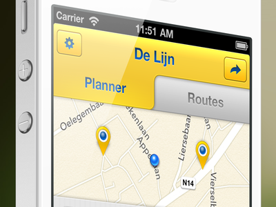 The redesign of the De Lijn iPhone app V2 delijn digiti tabs map gray yellow marker iphone5