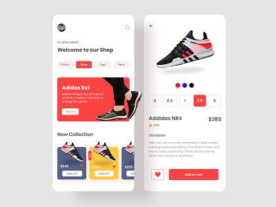 E commerce shoes App Design color mobile app shoes app sneakers sport shoes store ui illustration mobile ui app products minimal ecommerce app design