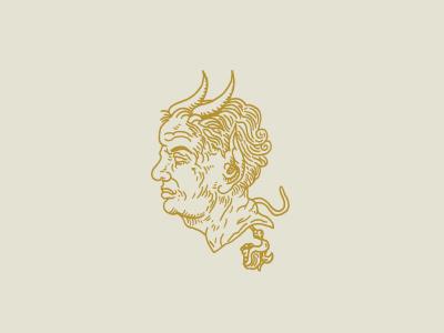 Old No.09 horns wrinkles bust no eyes linework illustration design