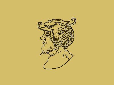 Old No.10 no eyes armor beard gold wrinkles bust linework illustration design