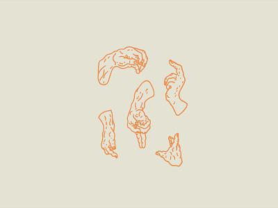 Old No.14 hand drawn wrinkles hands linework illustration design