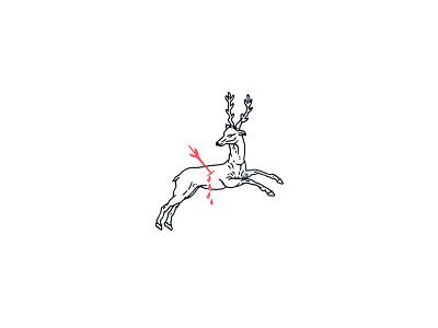 Old No.57 bleeding deer arrow no eyes linework illustration hand drawn