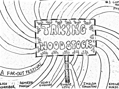 Taking Woodstock movie sketch for class sketches typography illustration groovy psychedelic music festival hippie design