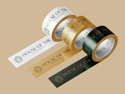 Adhesive Tape Design for House of THL, a luxury fashion brand brand design tape design tape white green gold graphic design packaging design colour palette typedesign design colourful branding